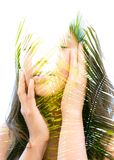Double exposure of a young natural beauty with closed eyes, rela Stock Photo