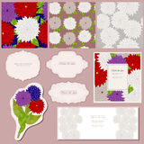 Bright asters. In bouquet and classic frames royalty free illustration