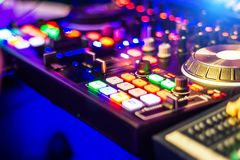 Bright Audio Mixer Control Panel. Bright Audio Control Panel with adjusted slide bar for DJ in night club. DJ professional sound mixer technology. Buttons royalty free stock photos