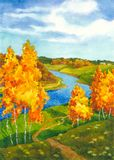 Bright Autumn. Watercolor landscape. Along the meandering river winding path surrounded by yellowing autumn trees Stock Photo
