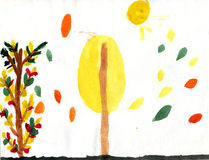 Bright autumn. Sun and trees. Watercolor picture made by child Stock Photos