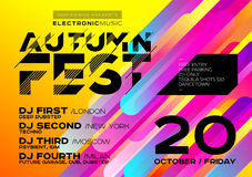 Bright Autumn Electronic Music Poster for Festival or DJ Party. Concept of Minimal Art Design for Event, Club Flyer, Invitation, Poster, Banner. Colorful Royalty Free Stock Photography