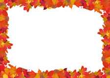 Bright autumn leaves frame isolated on white Royalty Free Stock Photo