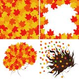 Bright autumn leaves. And girl`s profile. Set of four illustrations royalty free illustration