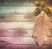 Bright autumn leaves on  old grunge wooden background Stock Photography