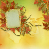 Bright autumn leaves  with paper frame Royalty Free Stock Image