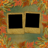 Bright autumn leaves with paper frame Royalty Free Stock Photo