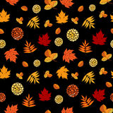 Bright Autumn Leaves Seamless Pattern. Seamless pattern with colorful different leaves. Fall leafage colors background Stock Photos