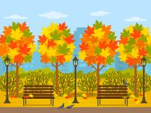 Bright autumn park in the city. Panorama of the city in October with maple trees and leaves. flat vector. Illustration royalty free illustration