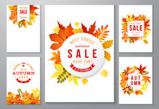 6 bright autumn posters. With leaves and labels. Vector illustration Royalty Free Stock Images