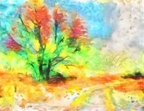 Bright autumn tree. The digital illustration. Bright autumn tree. Landscape. Nearby the field road turns to the right. The digital illustration, is executed in Royalty Free Stock Images