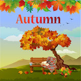 Bright autumn vector postcard Stock Photography