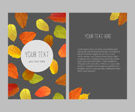 Bright autumnal vector banner. Vertical banner with yellow, orange, red autumn leaves, fall colors on on gray background Royalty Free Stock Photos