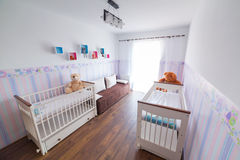 Bright baby room with white cradles. Bright baby room with pastel wallpapers and white cradles Stock Photography