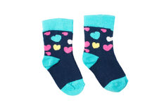 Bright baby socks on white Royalty Free Stock Photos