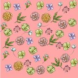 Bright backdrop with hand drawn flowers and leaves on pink background. Various buds. Floral vector seamless pattern. Bright backdrop with hand drawn flowers and vector illustration