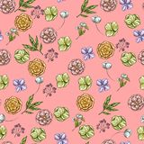 Bright backdrop with hand drawn flowers and leaves. Various buds. Floral vector seamless pattern. Bright backdrop with hand drawn flowers and leaves. Various Royalty Free Stock Image