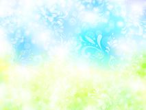 Bright background. Bright shining background with floral elements in light blue and green Stock Image