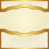 Bright background. With floral ornaments and golden frame Stock Images