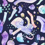 Bright background: abstract shapes, drawing of geometric minimal elements inspired by space, stars, planets. stock illustration