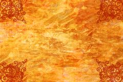 Bright background with antique scroll-work corners. Bright bold abstract canvas/background with distressed antique tin scroll-work design at corners Royalty Free Stock Images
