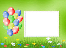 Bright background  with balloon and flowers Stock Photography