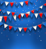 Bright Background with Bunting Flags for American Holidays. Illustration Bright Background with Bunting Flags for American Holidays, Patriotic Colors of USA Stock Image