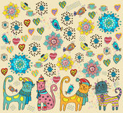Bright background with cats, flowers and hearts Stock Photography