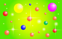 Bright background with colorful balls. And rays Stock Image