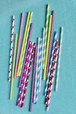 Bright background of colorful paper straws . Stock Photos