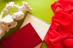 Bright background for craftsmanship. Bright colorful background with red silky drapery Royalty Free Stock Photos