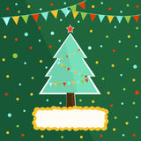 Bright background with decorated Christmas tree with toys and flags Royalty Free Stock Photos