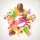 Ice cream mix. Bright background with different kinds of ice cream Royalty Free Stock Images
