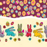 Bright Background with Easter Egg. Easter seamless border with rabbit Stock Image