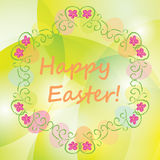 Bright background with floral ornament - vector happy easter. Bright vector background with floral ornament - happy easter Royalty Free Stock Photo