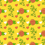 Bright background with flowers and leaves. Cartoon summer wallpaper.Seamless pattern can be used for pattern fills Royalty Free Stock Photos