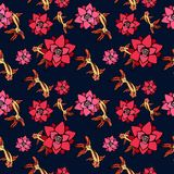 A bright background with gold fish and red lotus flowers against a background of dark blue water. Vector Seamless Pattern Royalty Free Stock Photos