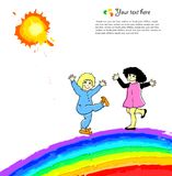 Bright background with happy child on rainbow Royalty Free Stock Photos
