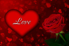 Bright background of the heart and a rose Royalty Free Stock Photos