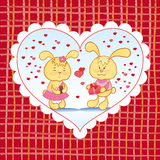 Bright background with hearts and bunnies Stock Photos