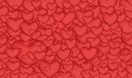 Bright background many red hearts. The many small and large red hearts, Sainte Valentine`s Day, background, love royalty free illustration