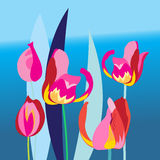 Bright background with multi-colored tulip Royalty Free Stock Photography
