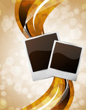 Bright background with photo frames. And waves Royalty Free Stock Photo