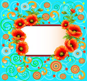 Bright background with poppies and swirls Stock Photography