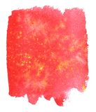 Bright background of red color with yellow splashes. Watercolor royalty free stock image