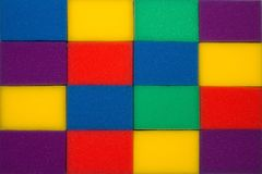 Multicolored sponges for washing dishes royalty free stock photography