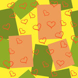 Bright background with squares and hearts seamless pattern Stock Photos