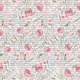 Bright background with strips and flowers. Seamless pattern can be used for wallpapers, fabric, pattern fills, web page. Backgrounds, surface textures Stock Images