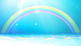 Bright background with sunshine, blue sky, butterfly, rainbow and sea.
