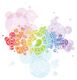 Bright background with white mandala on colorful transparent circle blobs. Royalty Free Stock Image